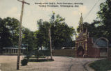 Brandywine Springs. Park Entrance, showing Trolley Terminals, Wilmington, Delaware