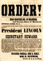 Order relating to the Lincoln Assassination